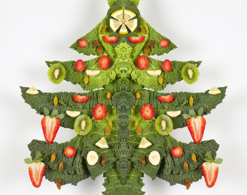 Árvore de Natal dos frutos e do Cale imagens de stock royalty free