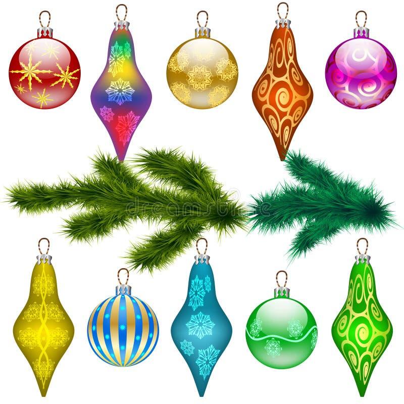 Árvore de Natal dos ramos e das bolas do pinho ilustração stock