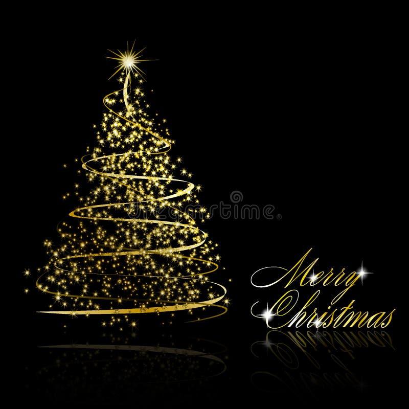 Árvore de Natal dourada abstrata no fundo preto ilustração royalty free