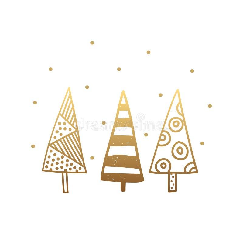 Árvore de Natal dourada decorativa isolada no fundo branco Símbolo do Feliz Natal e do ano novo feliz ilustração do vetor