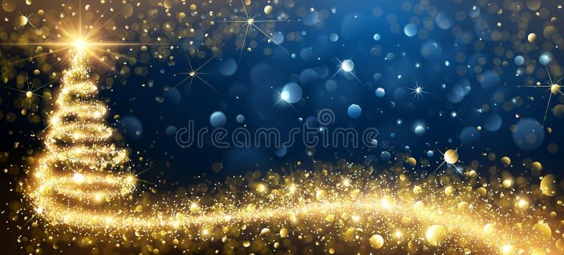 Árvore de Natal dourada Vetor ilustração do vetor