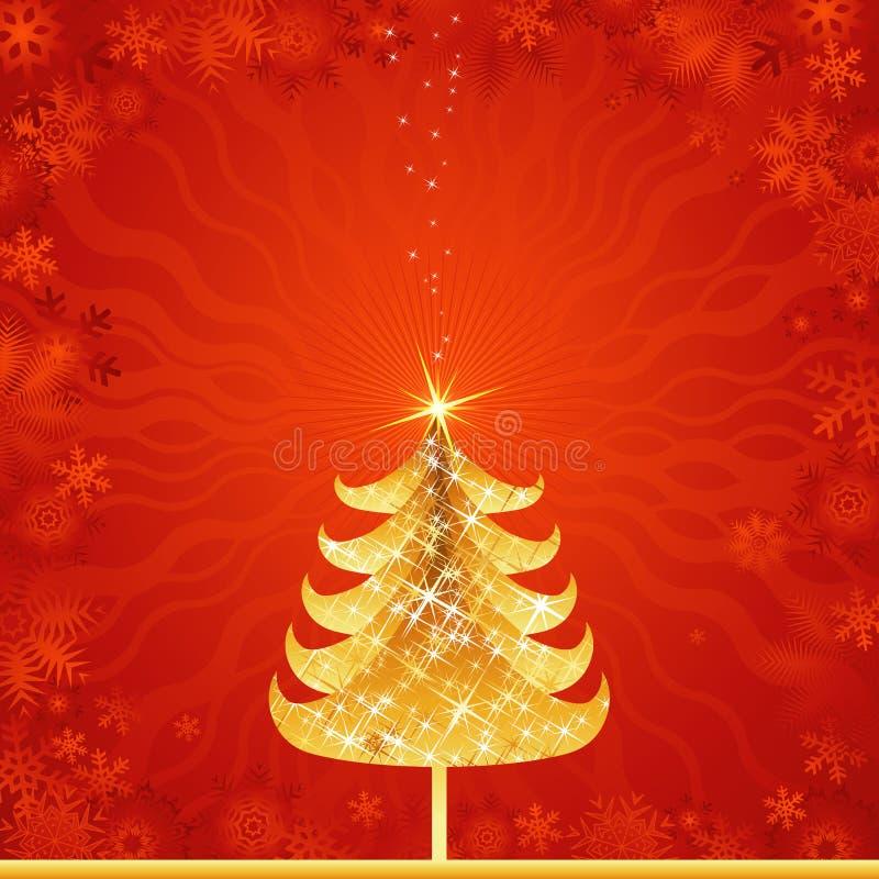 Árvore de Natal dourada, vetor ilustração royalty free