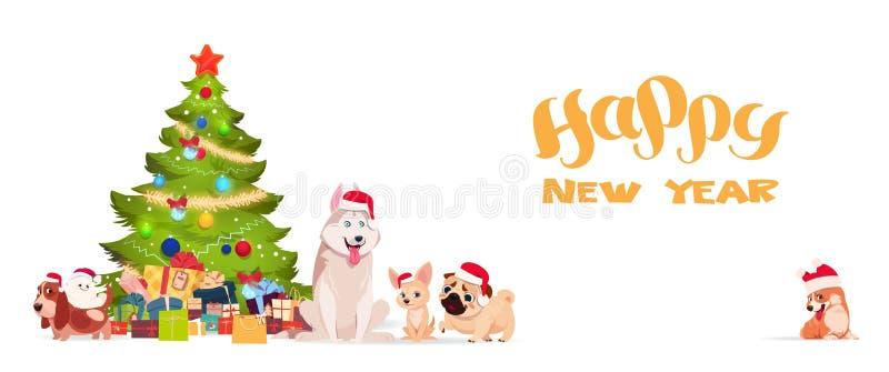 Árvore de Natal e cães bonitos no cartaz 2018 do cumprimento do feriado da bandeira do ano novo feliz de Santa Hats On White Back ilustração royalty free