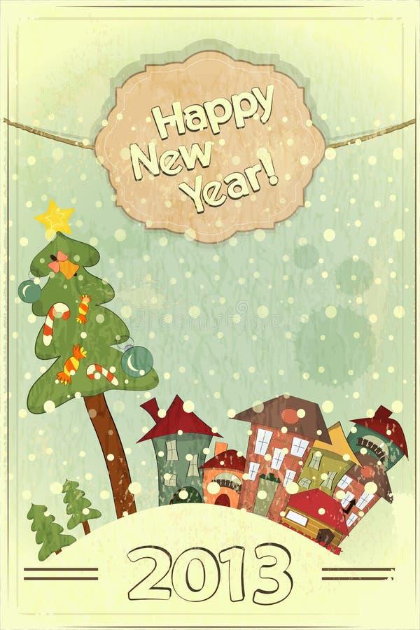 Árvore de Natal e casas pequenas ilustração royalty free