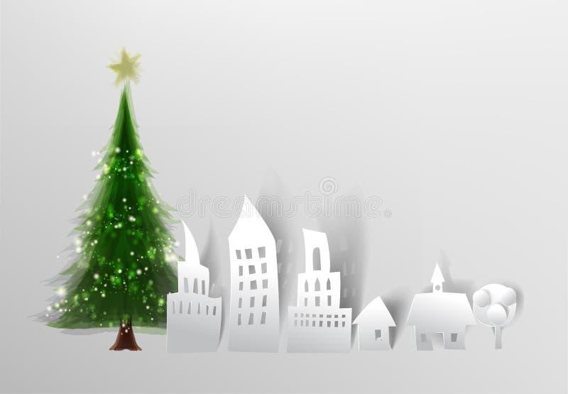 Árvore de Natal e de rua da cidade fundo feito do papel ilustração stock
