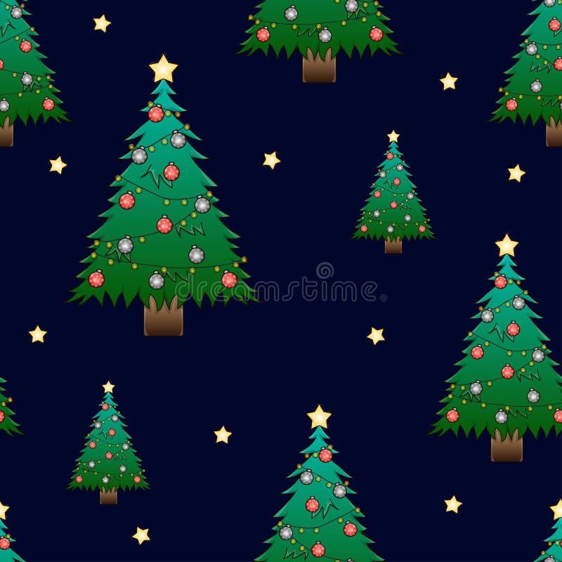 Árvore de Natal e estrela dourada na obscuridade - fundo azul do céu noturno Ilustração do vetor ilustração royalty free