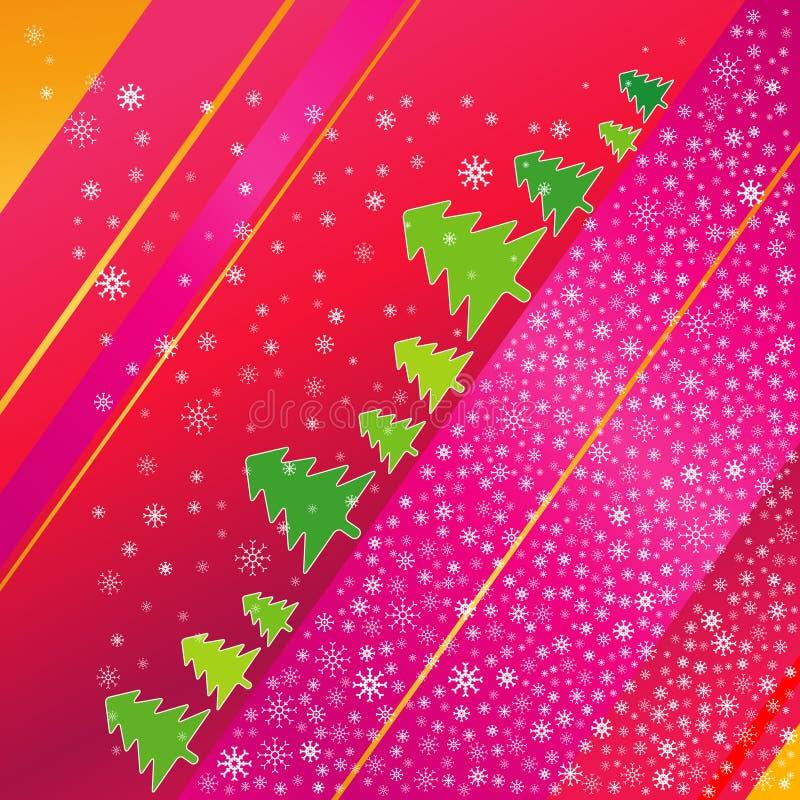 Árvore de Natal e snowflaks ilustração stock