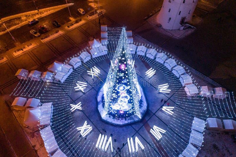 Árvore de Natal em Vilnius, Lituânia Um do melhor e do beauti fotos de stock