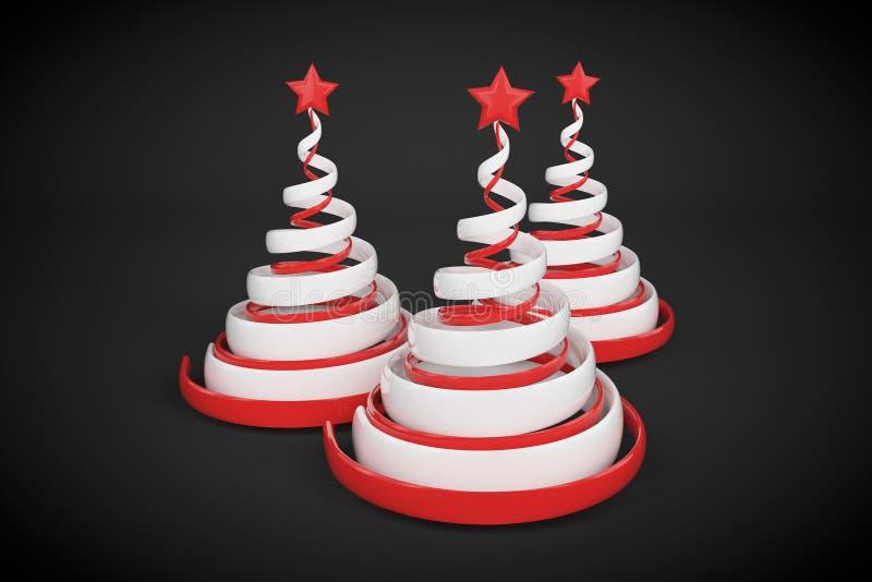 Árvore de Natal espiral festiva do sumário feita das fitas brancas e vermelhas com estrela 3D rendem a ilustração no fundo preto ilustração do vetor