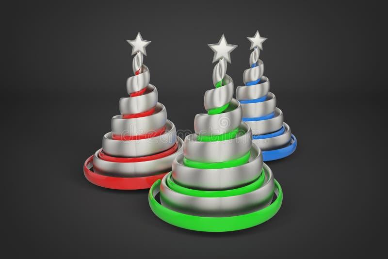 Árvore de Natal espiral festiva do sumário feita das fitas de prata com estrela 3D rendem a ilustração no fundo preto ilustração do vetor