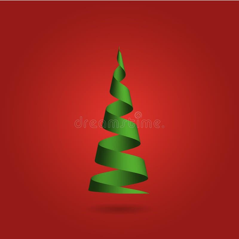 Árvore de Natal feita da fita verde no fundo vermelho Ilustração do vetor do projeto moderno 3D ilustração royalty free