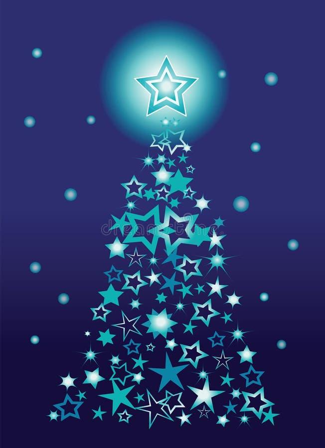 Árvore de Natal feita das estrelas ilustração stock