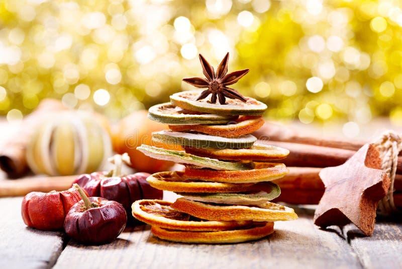 Árvore de Natal feita de frutos secados fotos de stock royalty free