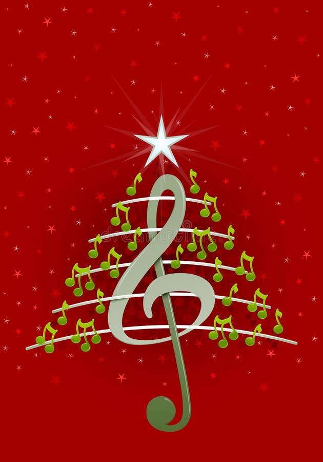Árvore de Natal feita de notas musicais, da clave de sol e do pentagram verdes no fundo vermelho com estrelas ilustração royalty free