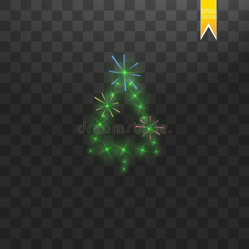 Árvore de Natal feita O bokeh verde do brilho ilumina-se e sparkles A estrela, as partículas do sol e as faíscas de brilho com le ilustração do vetor