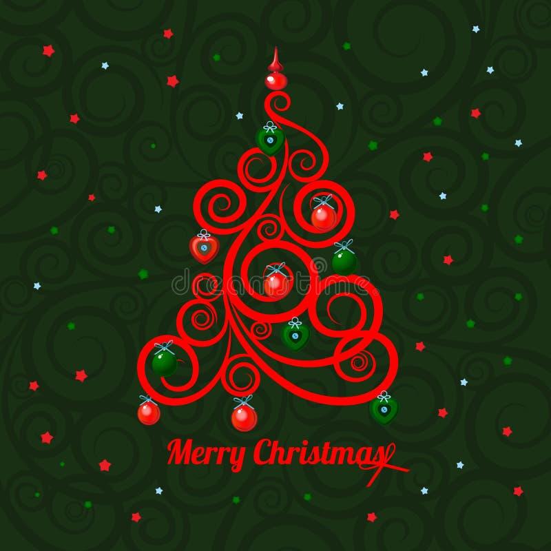 Árvore de Natal florida modelada em um fundo verde e no Feliz Natal das palavras Amostra do cartaz, partido ilustração do vetor