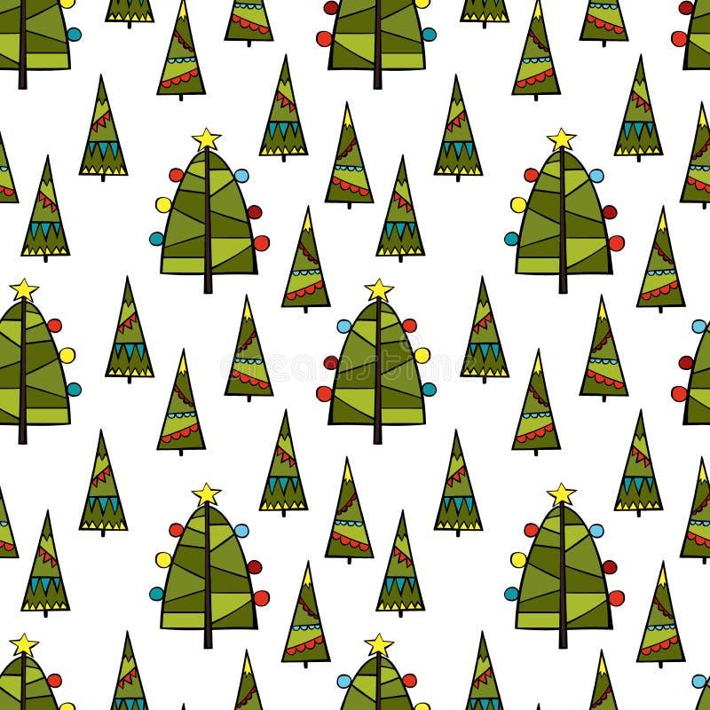 Árvore de Natal Fundo sem emenda do teste padrão do vetor fotografia de stock royalty free