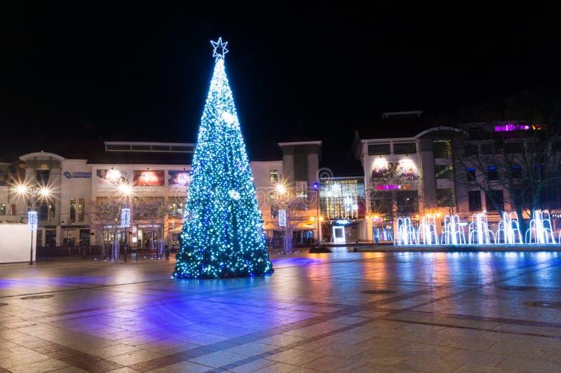 Árvore de Natal iluminada no centro da cidade de Sopot Árvore de Natal no amigo do quadrado de Sopot imagem de stock royalty free
