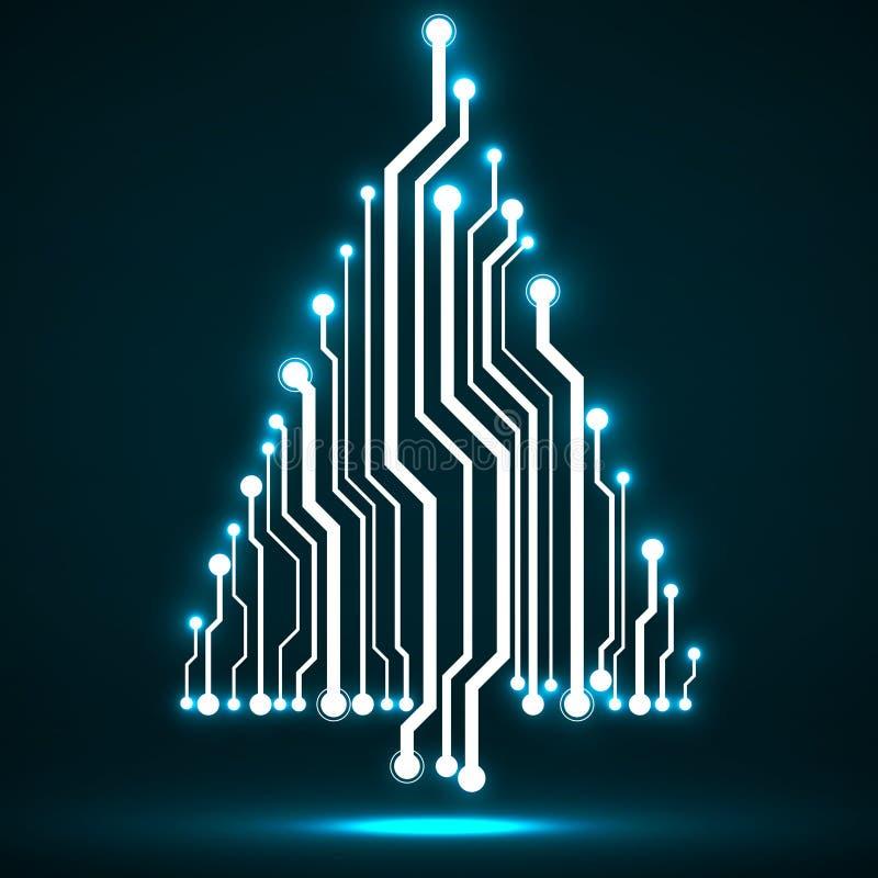 Árvore de Natal de incandescência da tecnologia abstrata ilustração do vetor