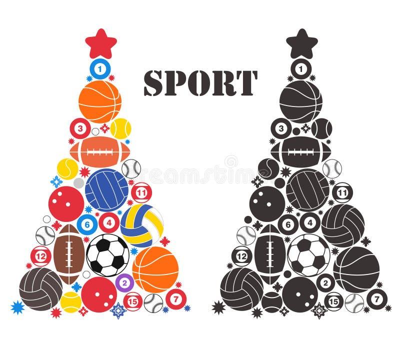 Árvore de Natal incomum. Esporte ilustração stock