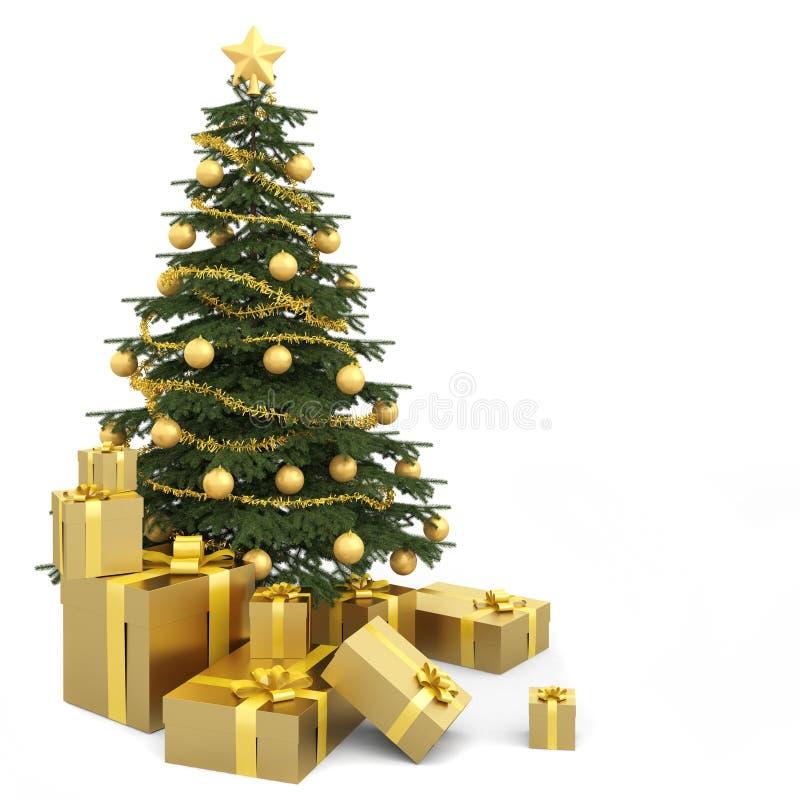 Árvore de Natal isolada dourada ilustração do vetor