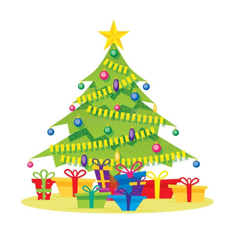 Árvore de Natal isolada no branco com caixas de presente, estrela, bolas ilustração stock
