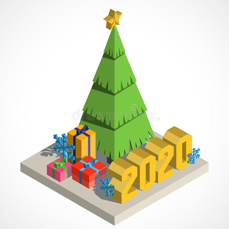 Árvore de Natal isometry ilustração royalty free