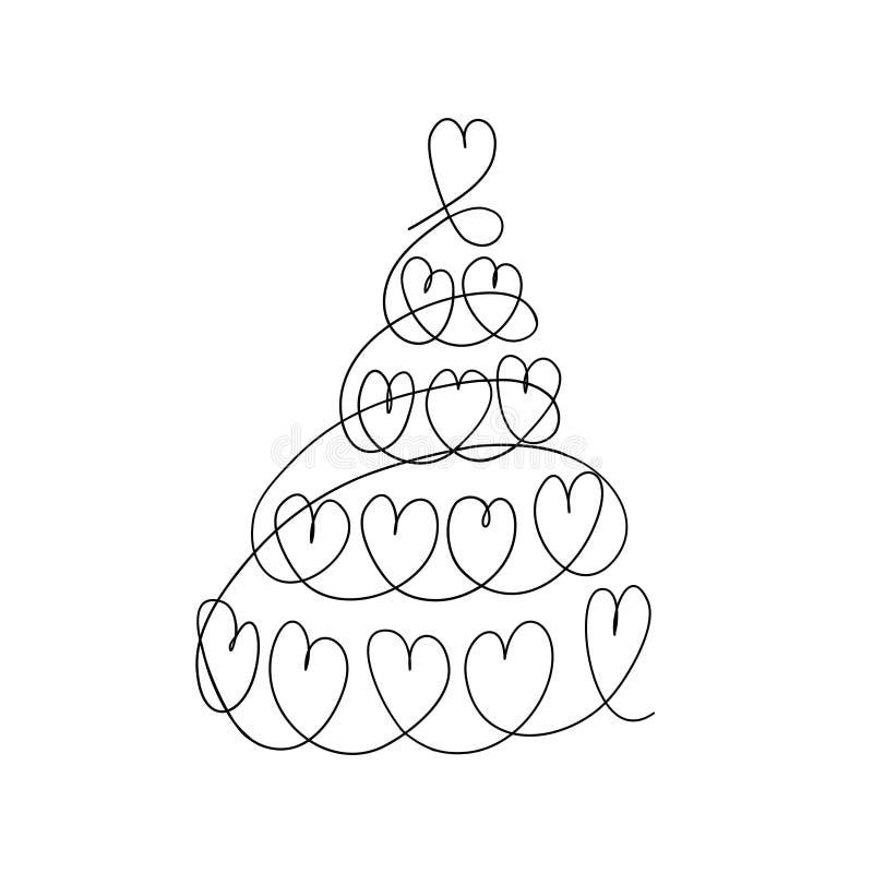 Árvore de Natal linear, projeto à moda da árvore de Natal com corações ilustração stock