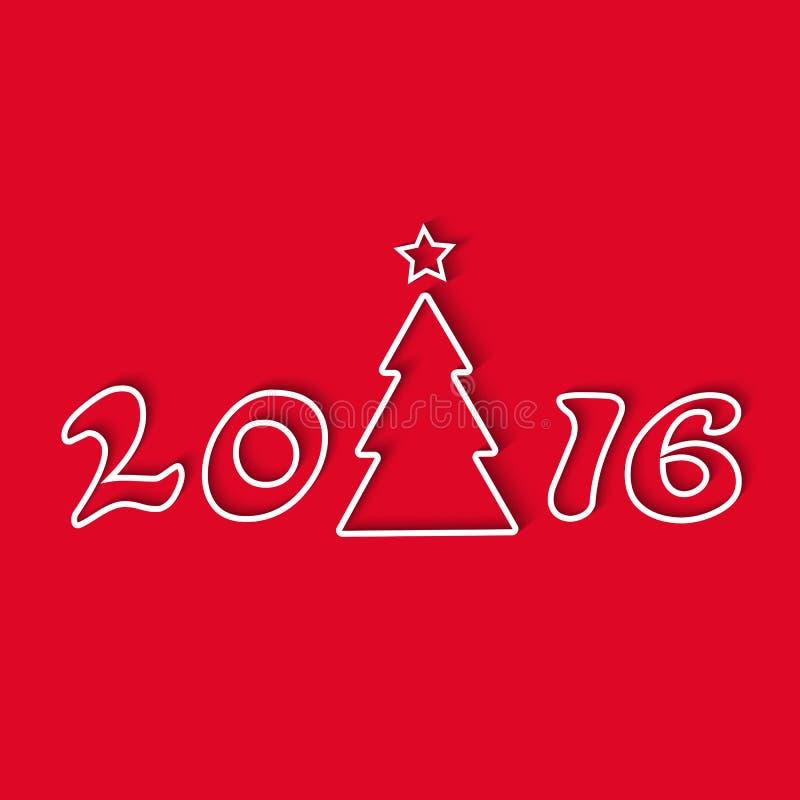 Árvore de Natal 2016, linha projeto gráfico, cartão do feriado do modelo, fundo vermelho ilustração royalty free