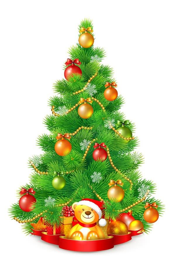 Árvore de Natal macia verde com bolas, os flocos de neve e as festões coloridos ilustração do vetor