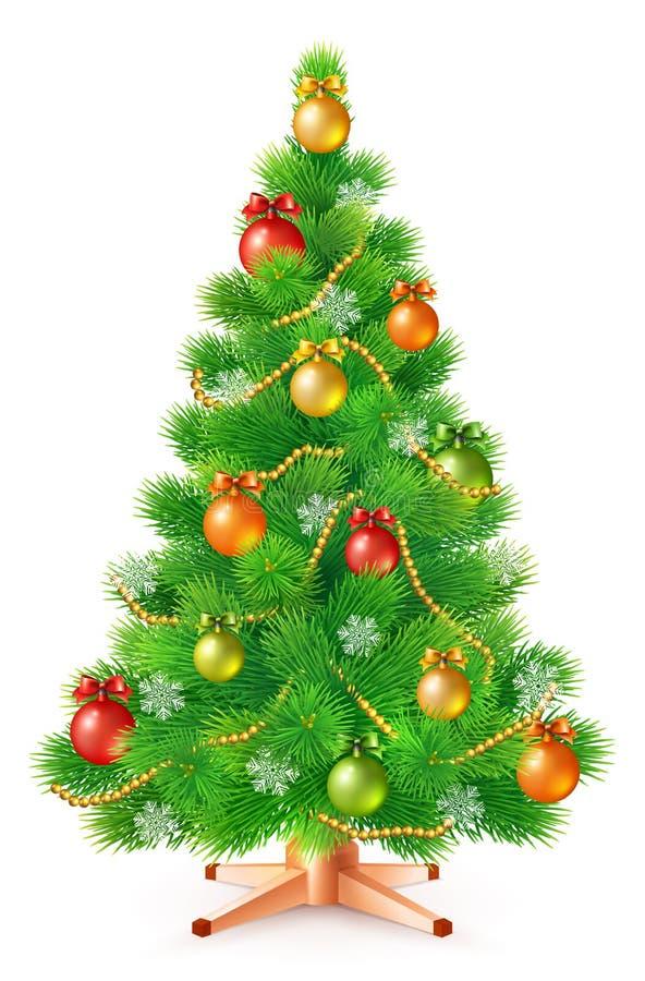 Árvore de Natal macia verde com bolas, os flocos de neve e as festões coloridos ilustração royalty free