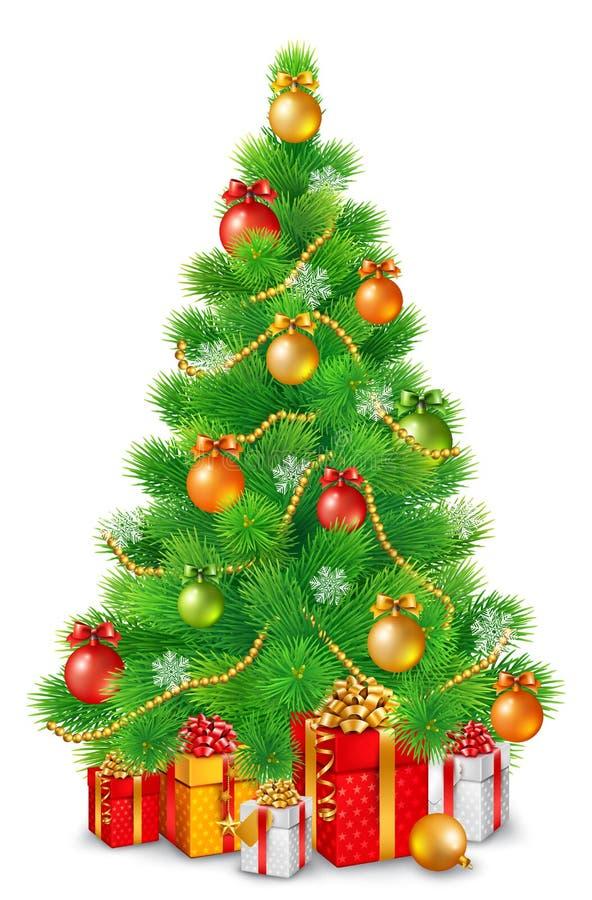 Árvore de Natal macia verde com bolas, os flocos de neve e as festões coloridos Sob a árvore são os presentes do Natal ilustração stock