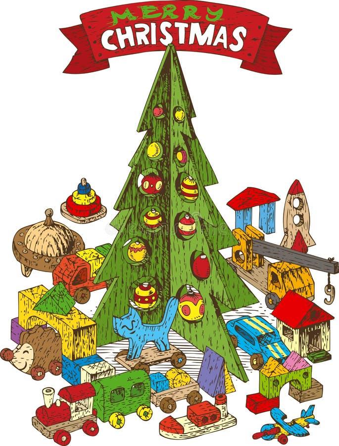 Árvore de Natal de madeira com brinquedos ilustração royalty free