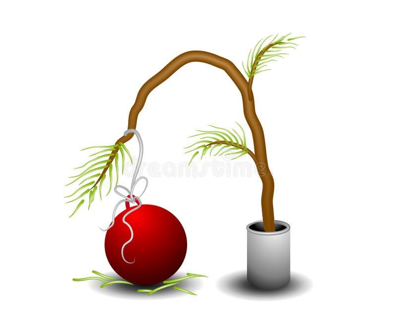 Árvore de Natal minúscula triste ilustração do vetor