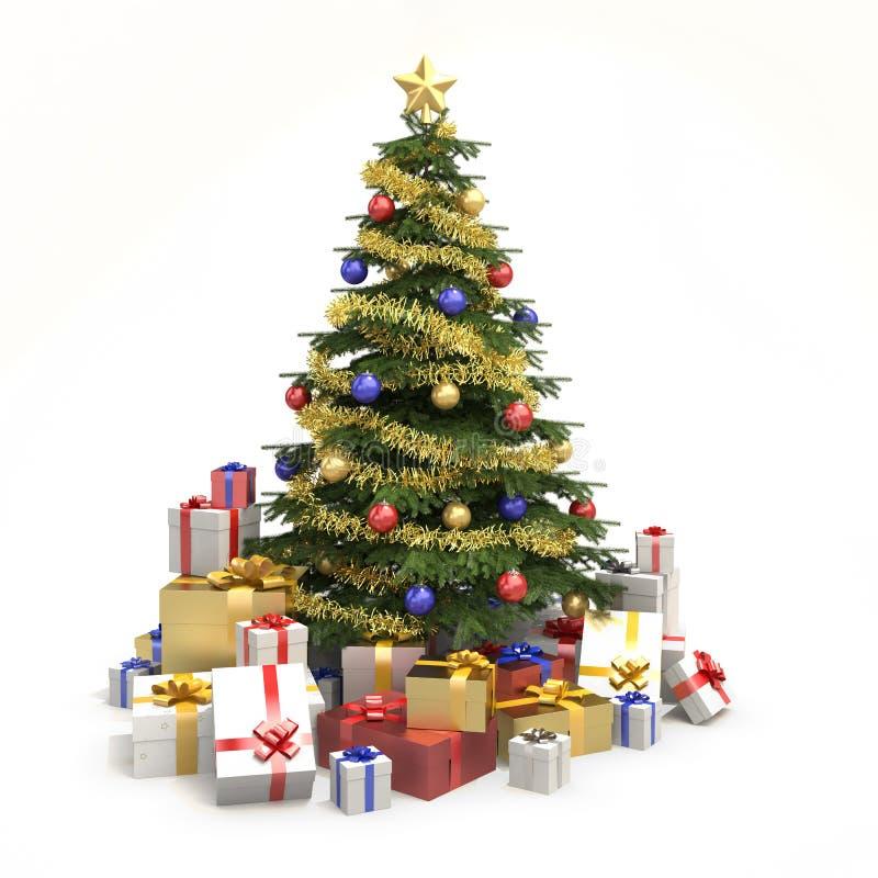Árvore de Natal Multicolor isolada ilustração stock