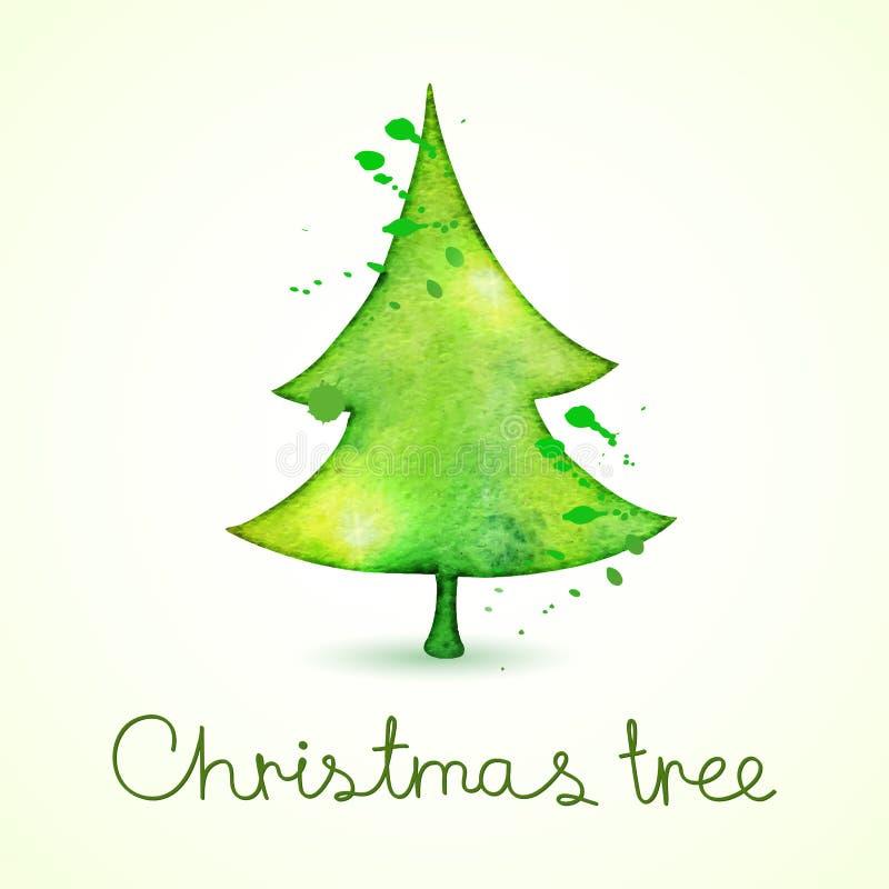 Árvore de Natal na aquarela que tende o estilo, ilustração stock