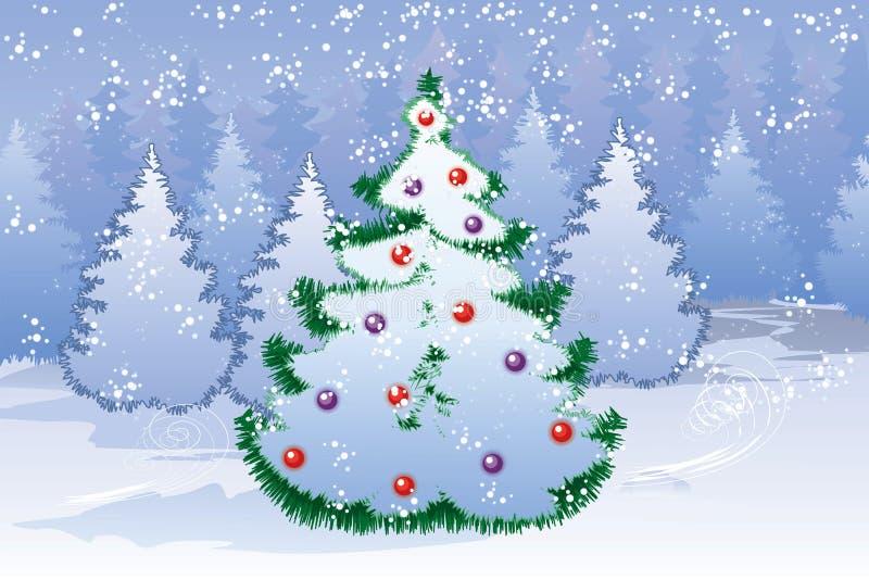 Árvore de Natal na floresta do inverno ilustração royalty free