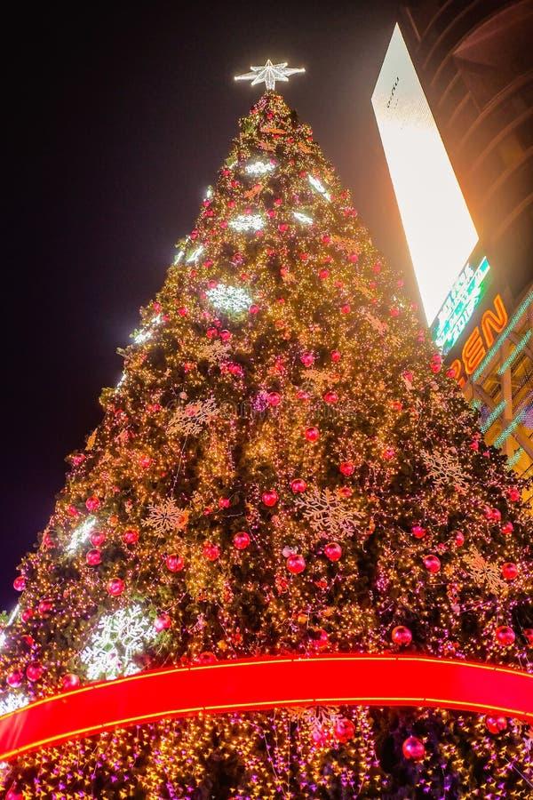 Árvore de Natal na frente da loja central do deparment do mundo com o turista que anda no dia da Noite de Natal Cidade Tailândia  imagens de stock