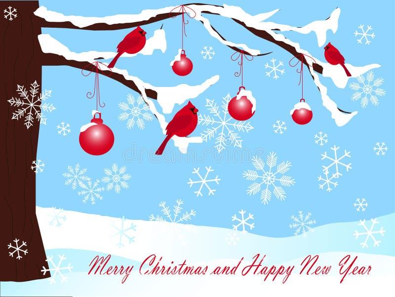 Árvore de Natal na neve, nas bolas e em Background cardinal vermelho no azul, no Feliz Natal e no ano novo feliz ilustração do vetor