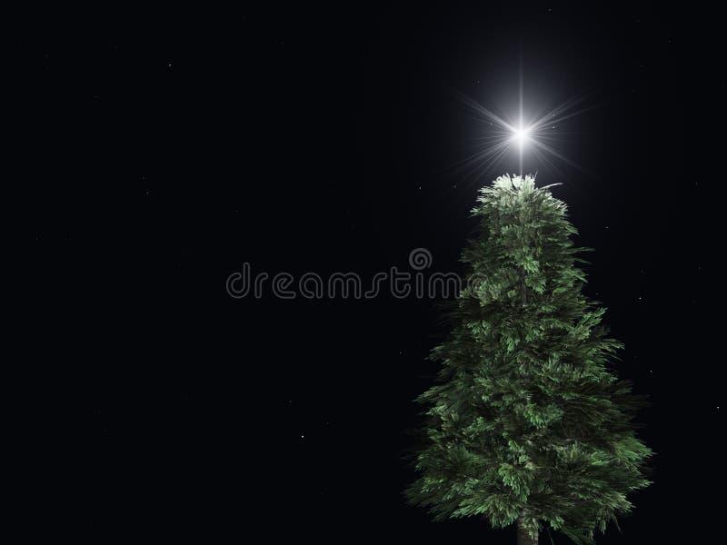 Árvore de Natal na noite ilustração do vetor