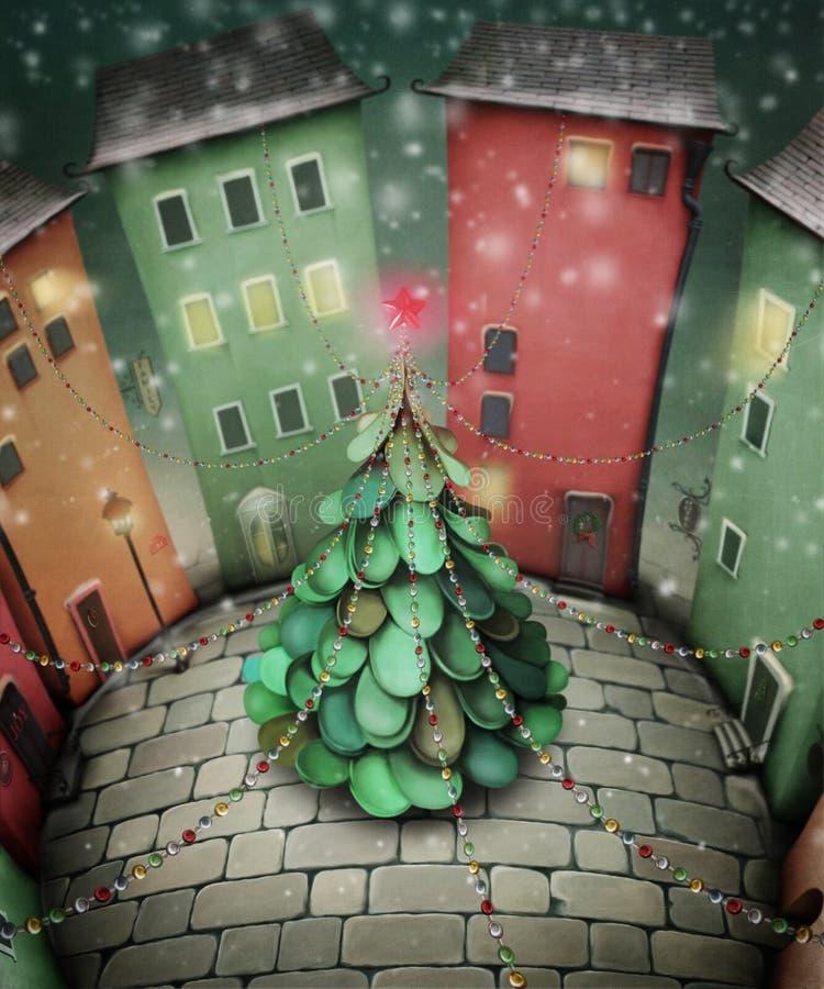 Árvore de Natal na praça da cidade ilustração royalty free