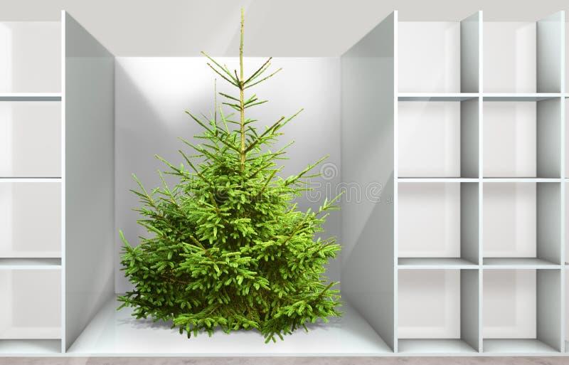 Árvore de Natal na prateleira ilustração stock