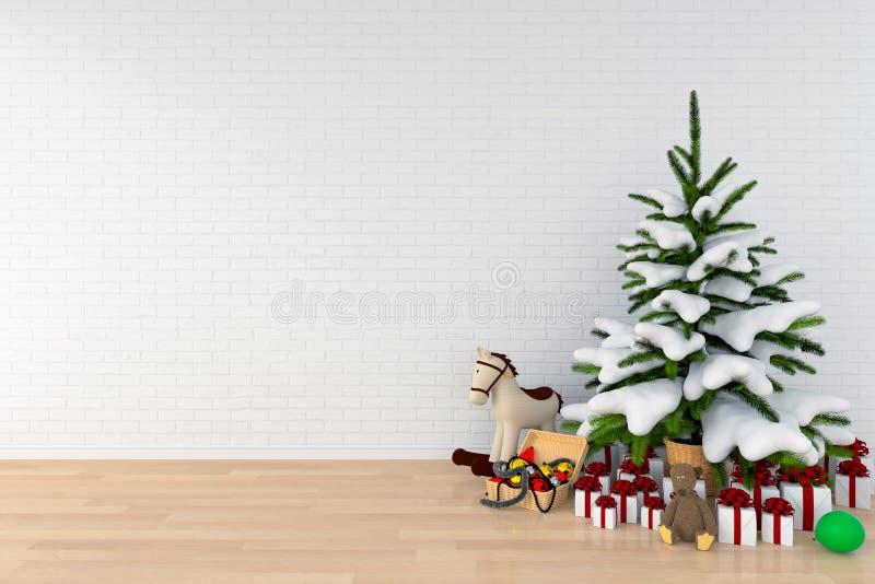 Árvore de Natal na sala branca para o modelo, rendição 3D ilustração stock