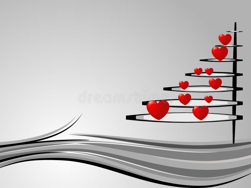 Árvore de Natal no amor ilustração stock