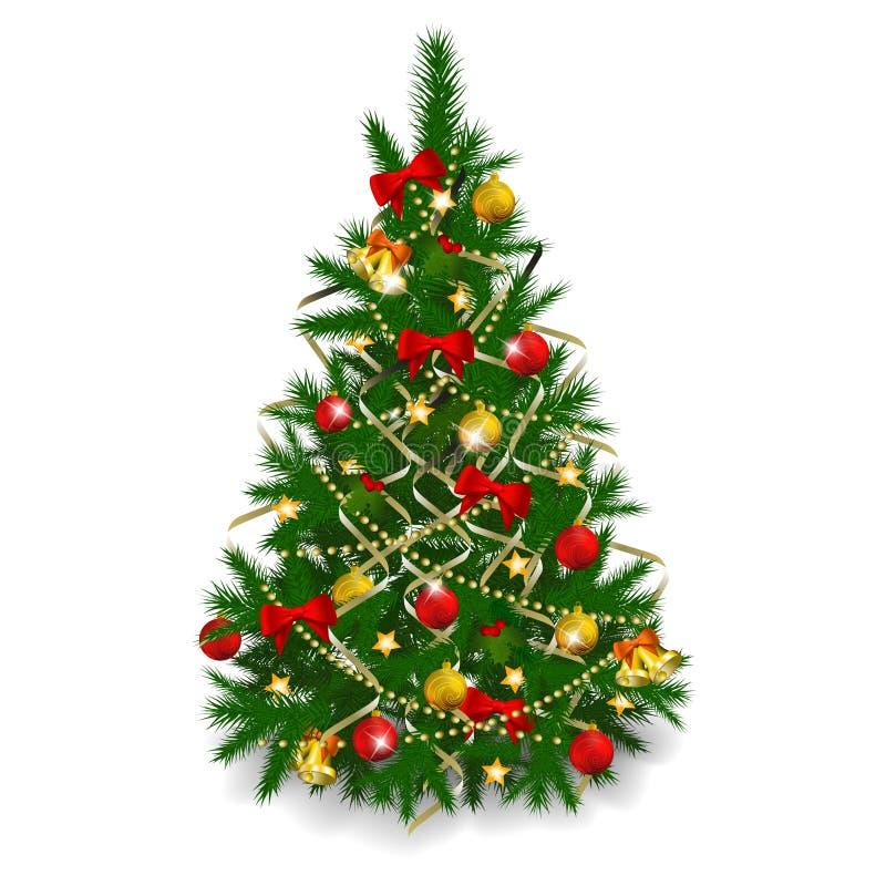 Árvore de Natal no fundo branco ilustração royalty free