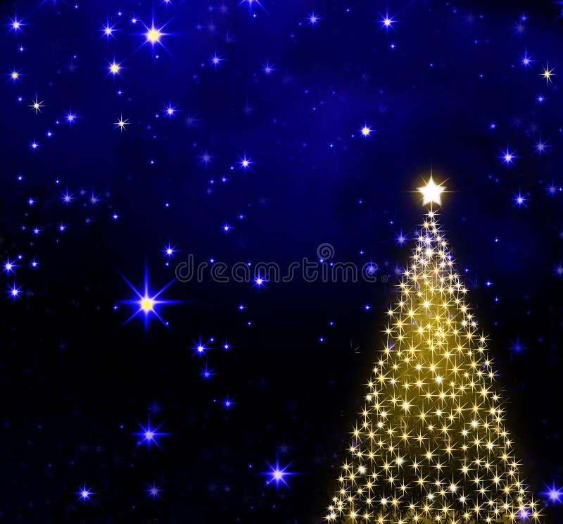 Árvore de Natal no fundo do céu das estrelas ilustração do vetor