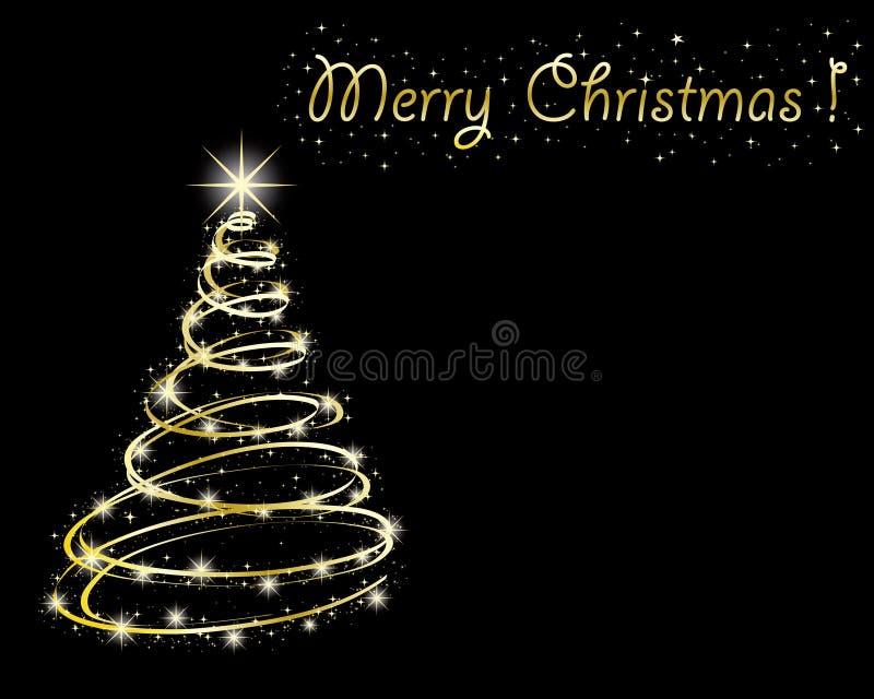 Download Árvore De Natal No Fundo Preto. Ilustração do Vetor - Ilustração de decoração, brilho: 16850011