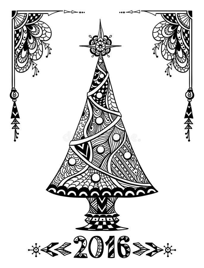 Árvore de Natal no preto do estilo da Zen-garatuja no branco ilustração royalty free