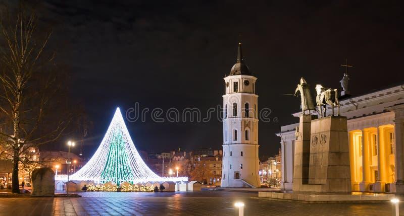 Árvore de Natal no quadrado da catedral de Vilnius e um monumento ao Lit fotografia de stock royalty free