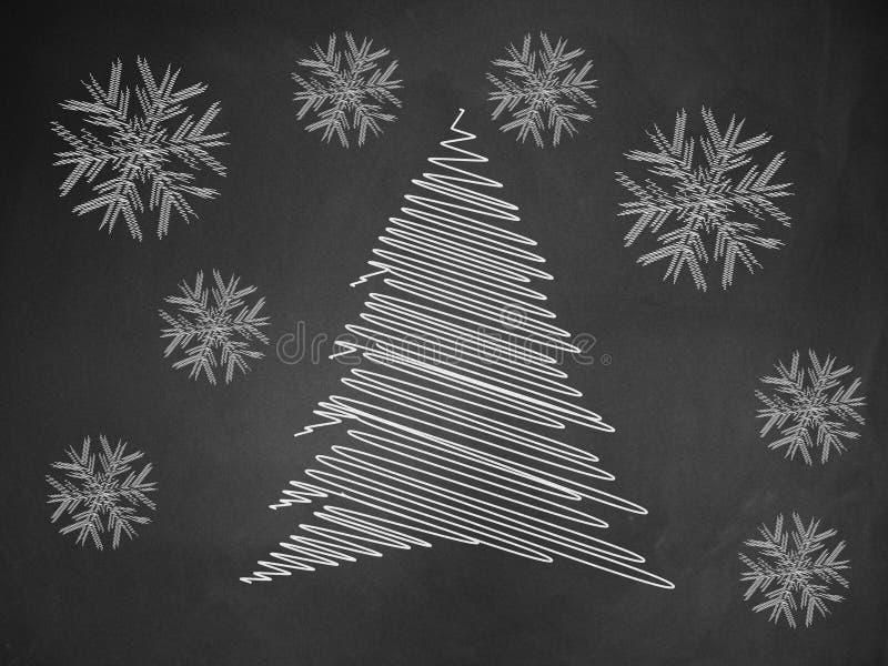 Árvore de Natal no quadro-negro ilustração royalty free